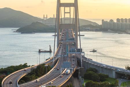 ma: HONG KONG - JULY 31, 2015: Tsing ma bridge Hong Kong landscape.
