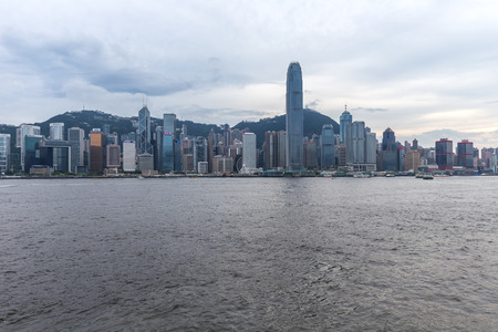 sea view: HONG KONG - JULY 29, 2015: Hong Kong, China skyline panorama from across Victoria Harbor.