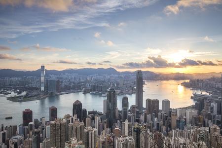 urban scene: The peak Hong Kong skyline cityscape