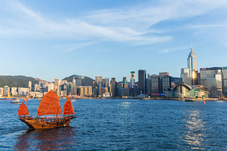 habour: Hong Kong victoria habour with red ship and building in background. Editorial
