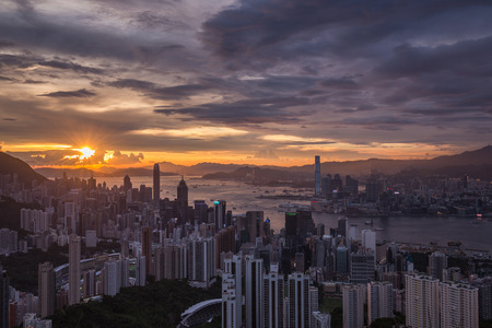 HONG KONG - JULY 30, 2015:  Hong Kong view with sunset sky on Jardines lookout mountain.