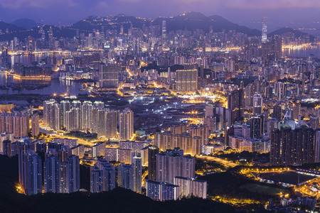 ngo: Fei ngo shan Kowloon Peak Hong Kong cityscape skyline. Stock Photo