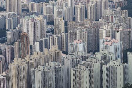 urban apartment: Building apartment pattern Hong Kong living. Stock Photo