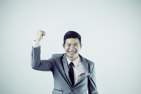 Salary man happy in success business vintage film color mood