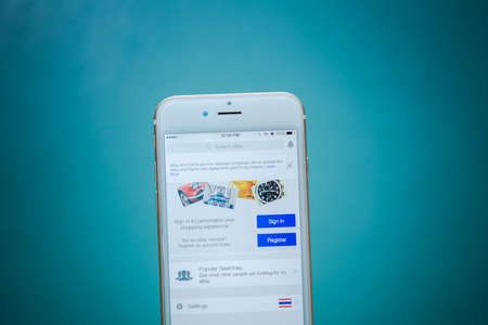 ebay: CHIANG MAI, THAILAND - SEPTEMBER 02, 2015: Close up of ebay app on a Apple iPhone 6 screen. ebay is one of the largest online auction and shopping websites. Editorial