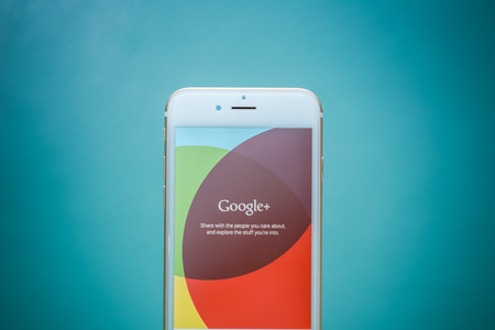 search results: CHIANG MAI, THAILAND - SEPTEMBER 02, 2015: Apple iphone 6 with Google+ social network of the Google company. Information of a social network, influences Google search results.