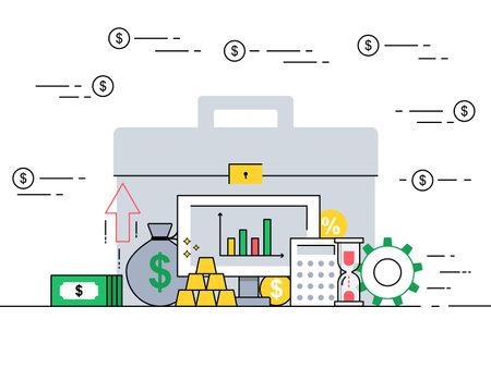 Investment portfolio concept in flat style vector illustration. Vektorgrafik