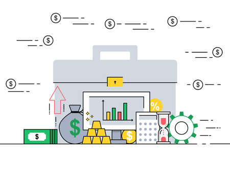 Investment portfolio concept in flat style vector illustration. Vektoros illusztráció
