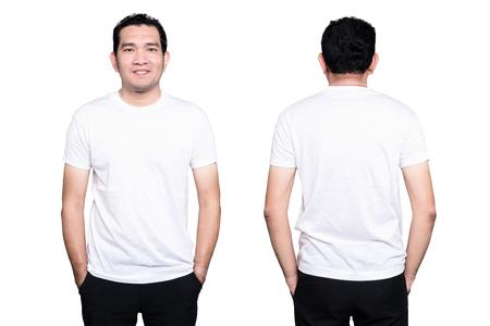 Hombre guapo en una camiseta blanca en blanco aislada en el fondo blanco. Foto de archivo - 76526973