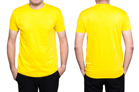 Handsome  man in a blank yellow t-shirt  isolated on white background. Stock Photo - 76529997