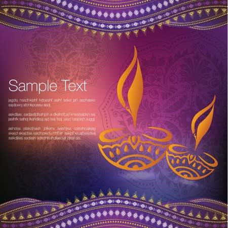 oriental ethnicity: Diwali Greeting Illustration