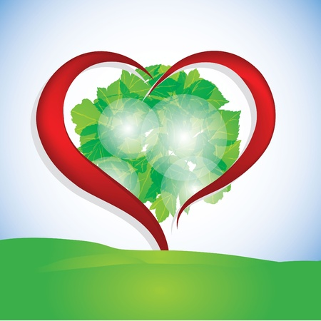 Leaf in the shape of heart Vector
