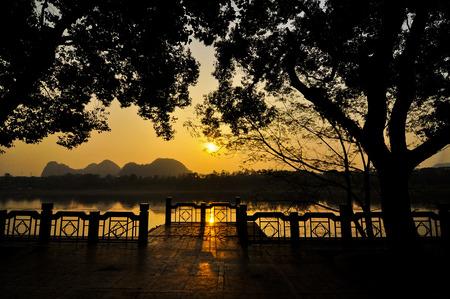 historical landmark: Sunset at lakeside
