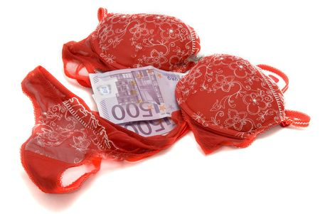 red bra: Money and red ladys underwear isolated on white background