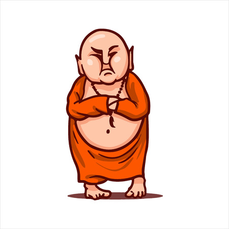 Cartoon vector illustration. Street art work or sticker with funny character. Buddha is displeased and looks critically, his hands folded on chest.