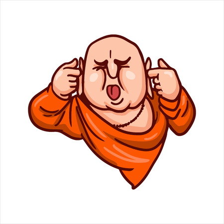 Cartoon vector illustration. Street art work or sticker with funny character. Buddha covered his ears and stuck out his tongue. Shut up symbol. Illustration