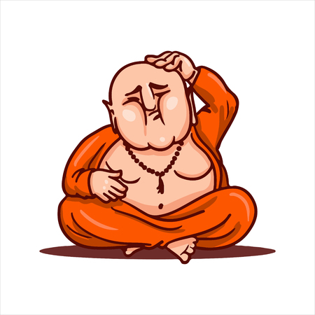 Cartoon vector illustration. Street art work or sticker with funny character. Buddha sitting in the lotus pose, thinking about new idea and scratching his bald head.