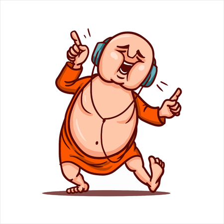 Cartoon vector illustration. Street art work or sticker with funny character. Funny Buddha listens loud music in headphones and dances like at a party. Illustration