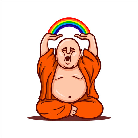 Cartoon vector illustration. Street art work or sticker with funny character. Funny Buddha sits in a lotus position, smiles and holds a rainbow over his head.