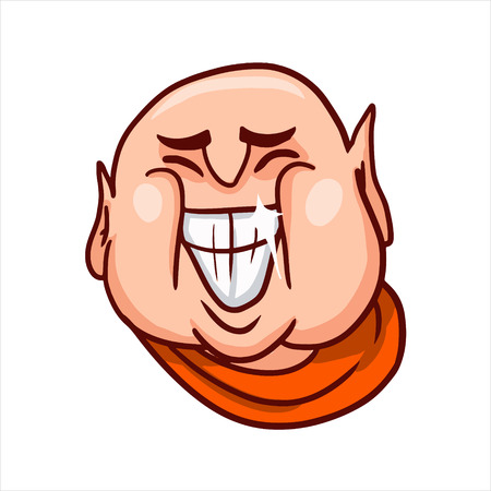 Cartoon vector illustration. Street art work or sticker with funny character. Joyful Buddhas face with a big open grinning mouth, showing teeth and smiles.