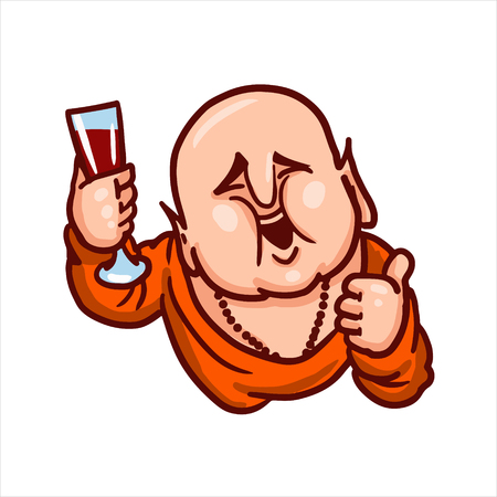 Cartoon vector illustration. Street art work or sticker with funny character. Buddha is smiling, showing thumb up and holding a glass of wine.