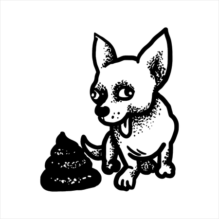 Etched vector illustration. Engraved sticker. Dark humor jokes. Contemporary street art work. Hand drawn sketch of a happy dog and a pile of faeces.