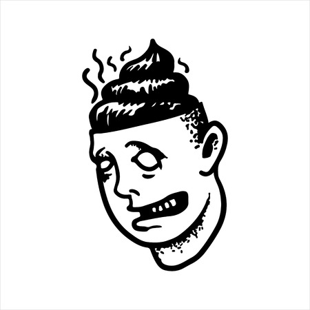 Etched vector illustration. Engraved sticker. Dark humor jokes. Contemporary street art work. Hand drawn sketch of a head with the stupid man with faeces in a head instead of a brain.