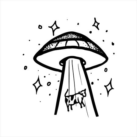 Etched vector illustration. Engraved sticker. Dark humor jokes. Contemporary street art work. Hand drawn sketch of aliens kidnapping a cow, tightening her inside a ufo.