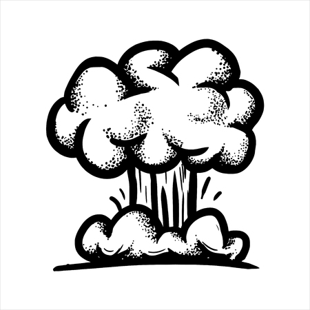 Etched vector illustration. Engraved sticker. Dark humor jokes. Contemporary street art work. Hand drawn sketch of a large nuclear explosion in the form of a fungus. Illustration