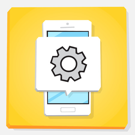 Smartphone 3d isometry flat design vector illustration. Window with cogwheel on mobile phone screen. Settings app icon.