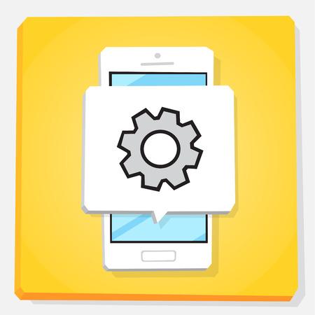 Smartphone 3d isometry flat design vector illustration. Window with cogwheel on mobile phone screen. Settings app icon.