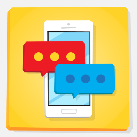 Smartphone 3d isometry flat design vector illustration. Speech bubbles with circles on mobile phone screen. Concept of chat app and message typing.