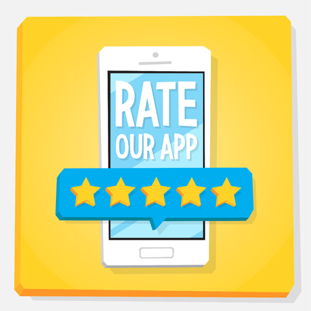 Smartphone 3d isometry flat design vector illustration. Rating with five stars on mobile phone screen. Concept of app review and user feedback.