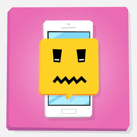 Smartphone 3d isometry flat design vector illustration. Face with scrunched mouth in notification window on mobile phone screen. Death emoji. Concept of feedback or chat sticker. Illustration