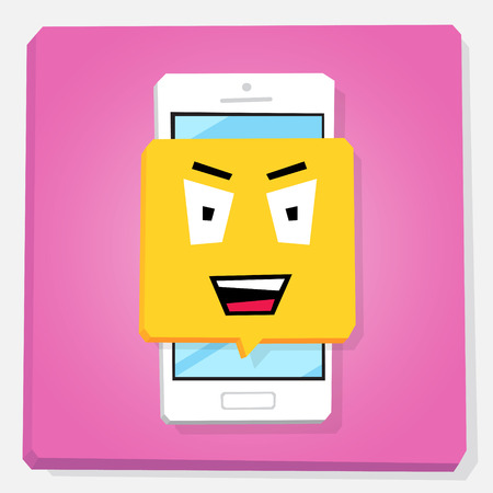 Smartphone 3d isometry flat design vector illustration. Sinister face in notification window on mobile phone screen. Wicked emoji. Concept of feedback or chat sticker. Illustration