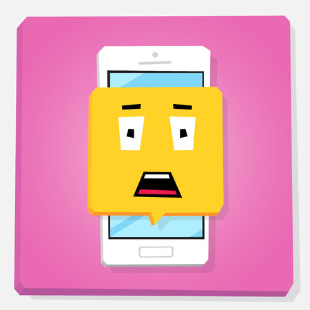 Smartphone 3d isometry flat design vector illustration. Stunned face in notification window on mobile phone screen. Shock emoji. Concept of feedback or chat sticker. 일러스트