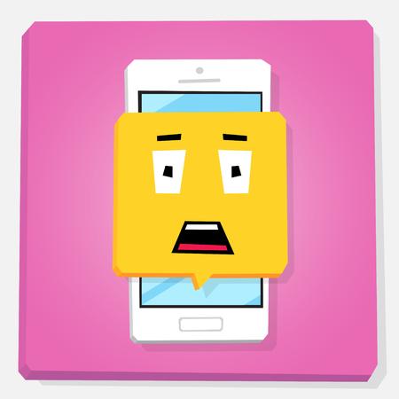 Smartphone 3d isometry flat design vector illustration. Stunned face in notification window on mobile phone screen. Shock emoji. Concept of feedback or chat sticker. Ilustração