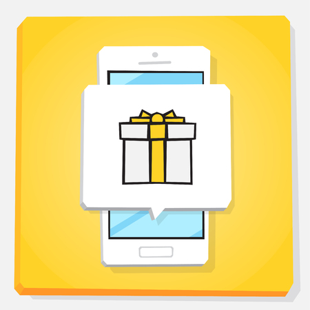 Smartphone 3d isometry flat design vector illustration. Window with new gift notification icon on mobile phone screen. Concept of personal bonus or gift card. Illustration