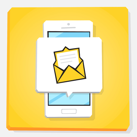 Smartphone 3d isometry flat design vector illustration. Window with new inbox email notification on mobile phone screen. Envelope icon. Open letter, unread message. Concept of mail app.