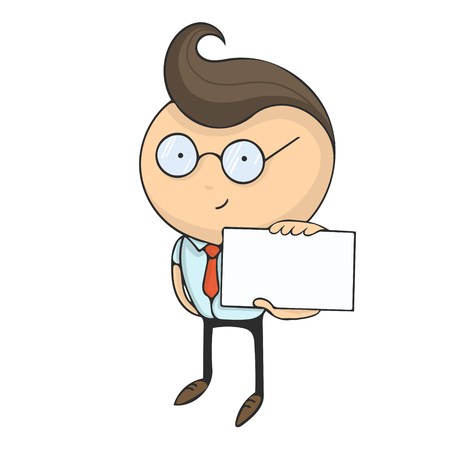 Hand drawn flat design colorful cartoon vector illustration. Art work or sticker with funny character. Young businessman or office manager shows blank business card.