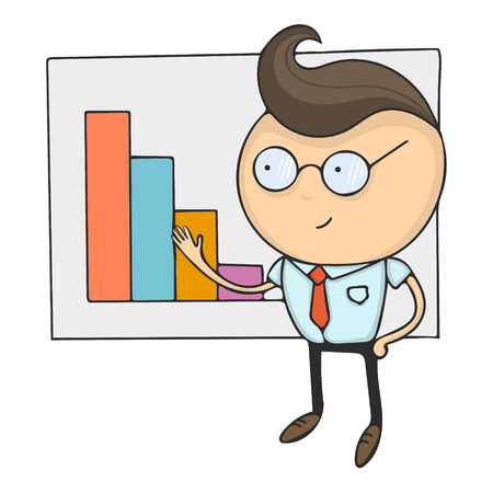 Hand drawn flat design colorful cartoon vector illustration. Art work or sticker with funny character. Young businessman or office manager showing diagramm with growth.