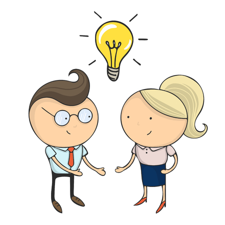 Hand drawn flat design colorful cartoon vector illustration. Art work or sticker with funny character. Two young businessmans or office managers stand opposite each other under bulb and discuss idea.