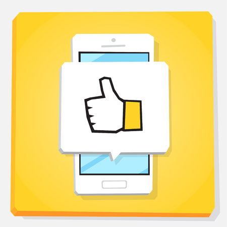 Smartphone 3d isometry flat design vector illustration. New like notification icon on mobile phone screen. Hand with big finger. Good feedback for customer service. 스톡 콘텐츠 - 99366970
