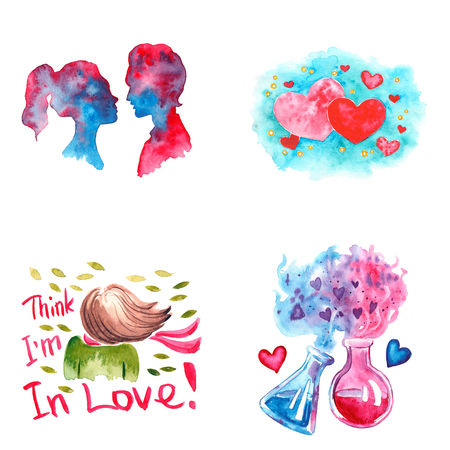 Hand drawn colorful illustration. Romantic watercolor art work set. Couple of lovers, hearts on blue background, girl in love, chemistry of love in flasks.
