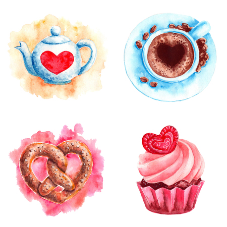 Hand drawn colorful illustration. Romantic watercolor art work set. Teapot and cup of coffee with heart, baked cupcake and heart shaped pretzel.