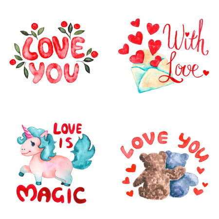Hand drawn colorful illustration. Romantic watercolor art work set. Love you badge, open envelope with hearts, pink unicorn and Teddy bears hugging.