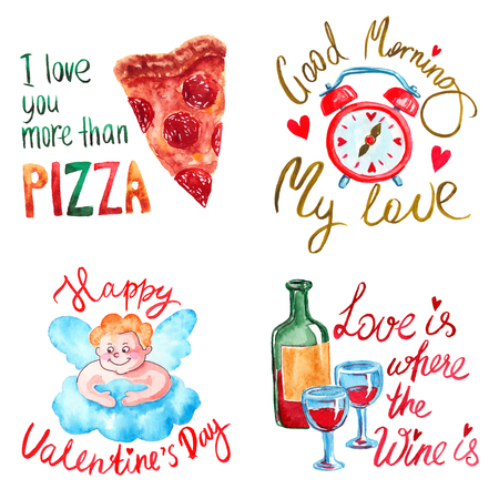 Hand drawn colorful illustration. Romantic watercolor art work set. Pizza piece, alarm clock, smiling angel on cloud, wine bottle with glasses. 스톡 콘텐츠