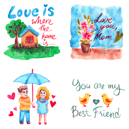 Hand drawn colorful illustration. Romantic watercolor art work set. House with green tree, pot with flower, girl and boy under umbrella, two chicks and heart.