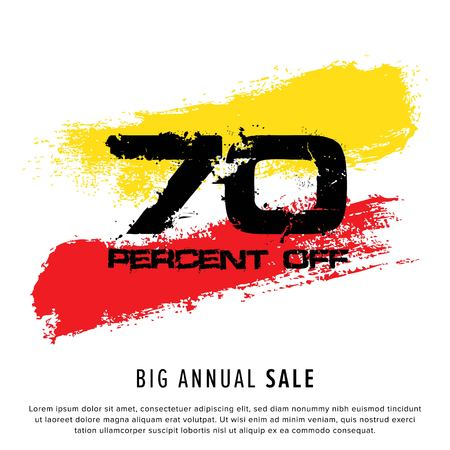 Vector colorful illustration. Grunge poster with big inscription - 70 percent off, big annual sale. Yellow, red, black, white background. Advertising of season sale. Promo image with shopping offer.