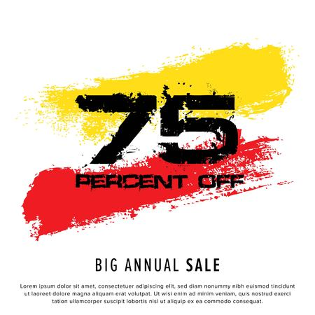 Vector colorful illustration. Grunge poster with big inscription - 75 percent off, big annual sale. Yellow, red, black, white background. Advertising of season sale. Promo image with shopping offer. 일러스트